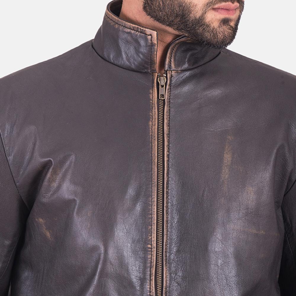 Mens Bikerson Distressed Brown Jacket 4