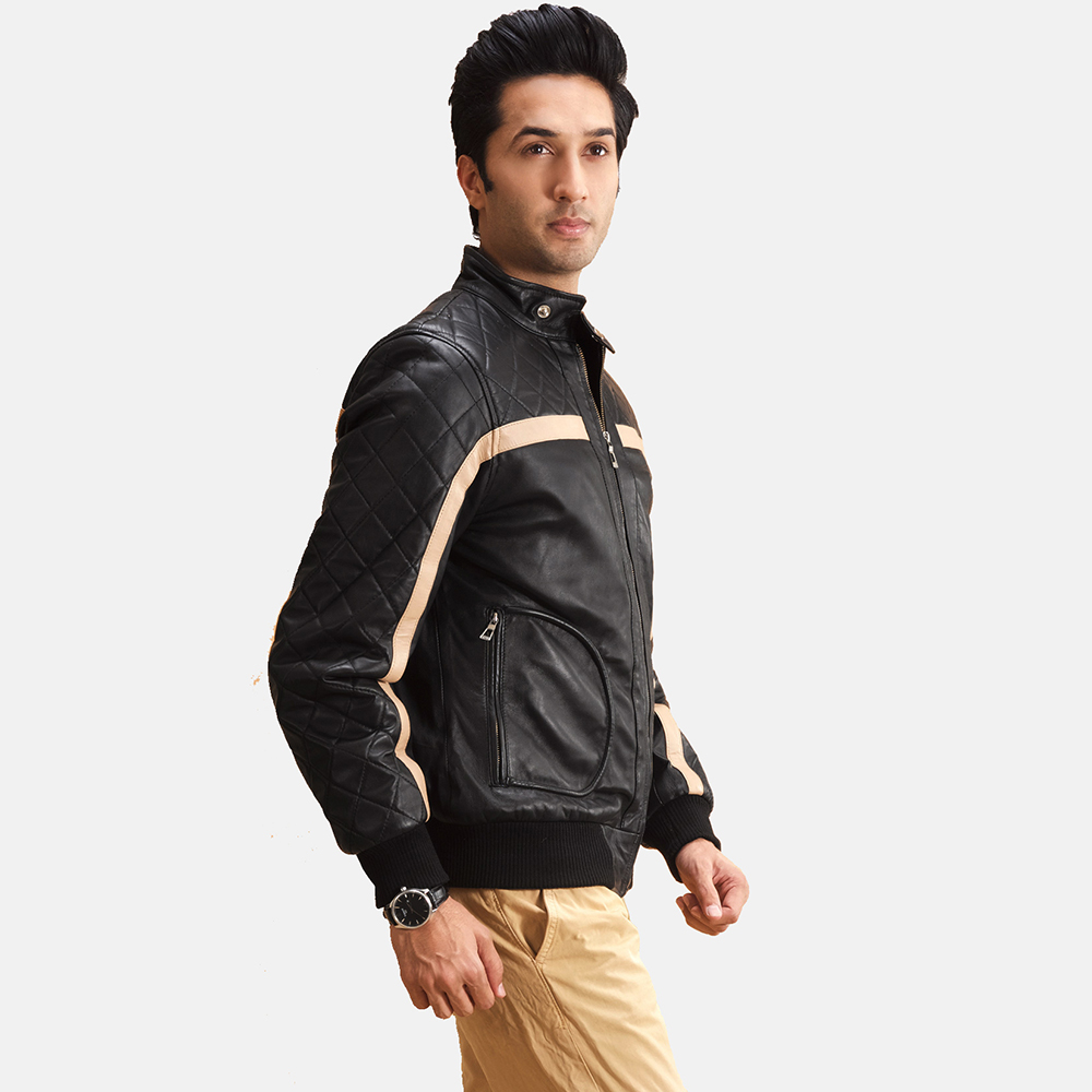 Mens Danson  Black Leather Bomber Jacket 3