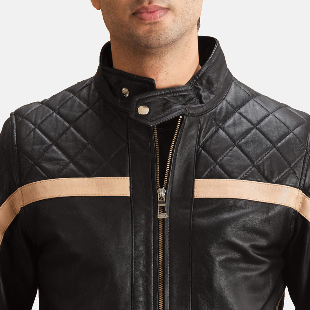 Mens Danson  Black Leather Bomber Jacket 5