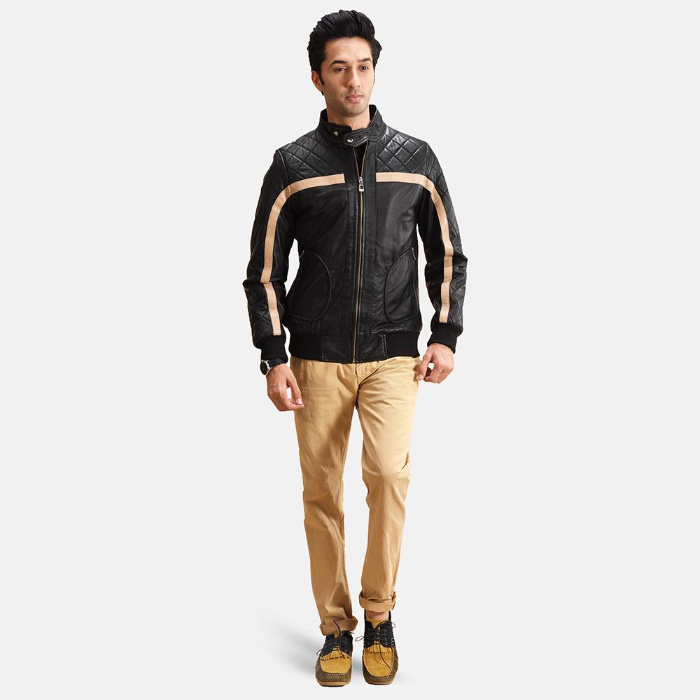 Mens Danson  Black Leather Bomber Jacket 1
