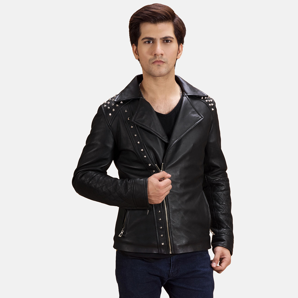 Mens Black Studded Leather Biker Jacket 1
