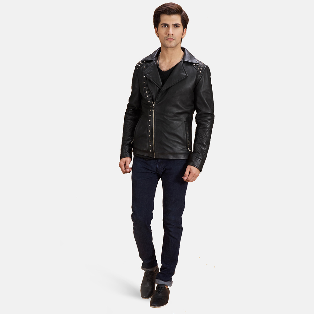 Mens Black Studded Leather Biker Jacket 2