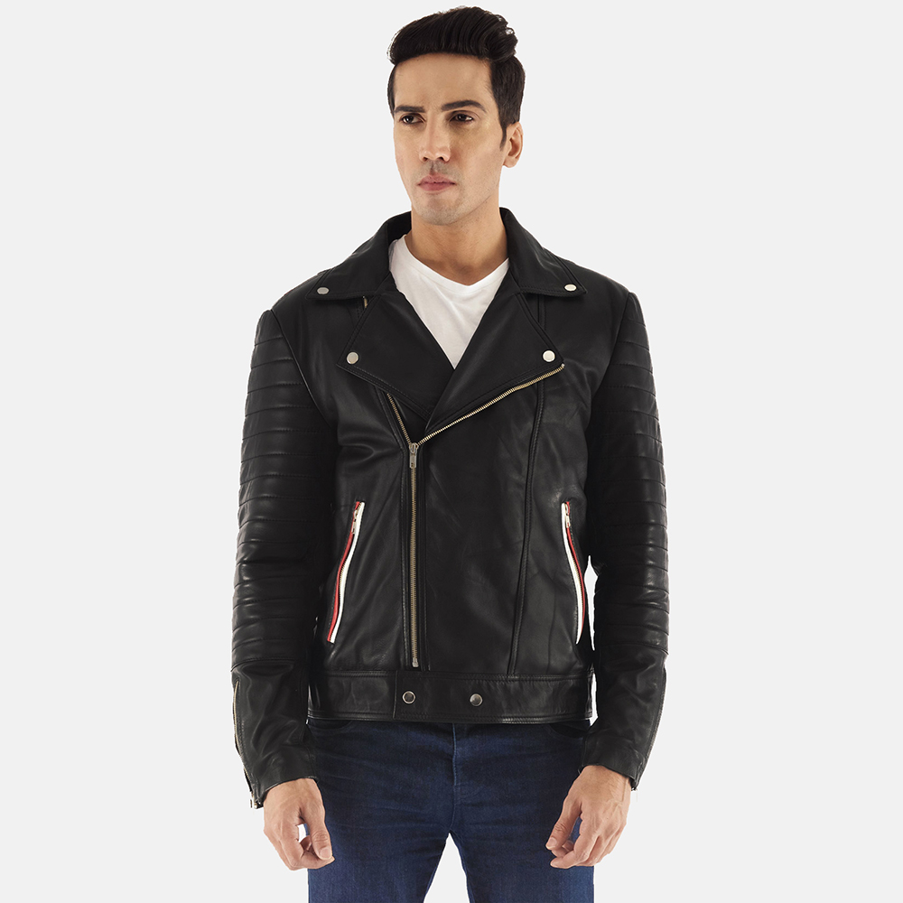 Mens Highfield Black Leather Biker Jacket 2