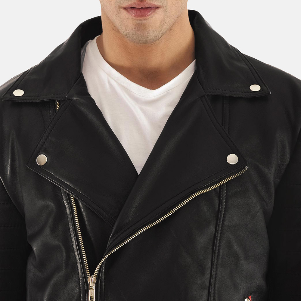 Mens Highfield Black Leather Biker Jacket 5