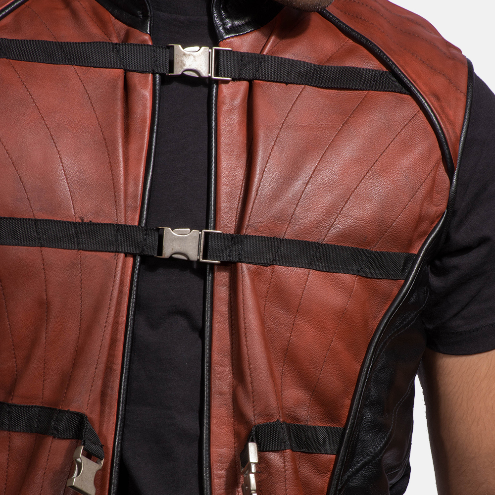 Mens Bonfire Leather Vest 5