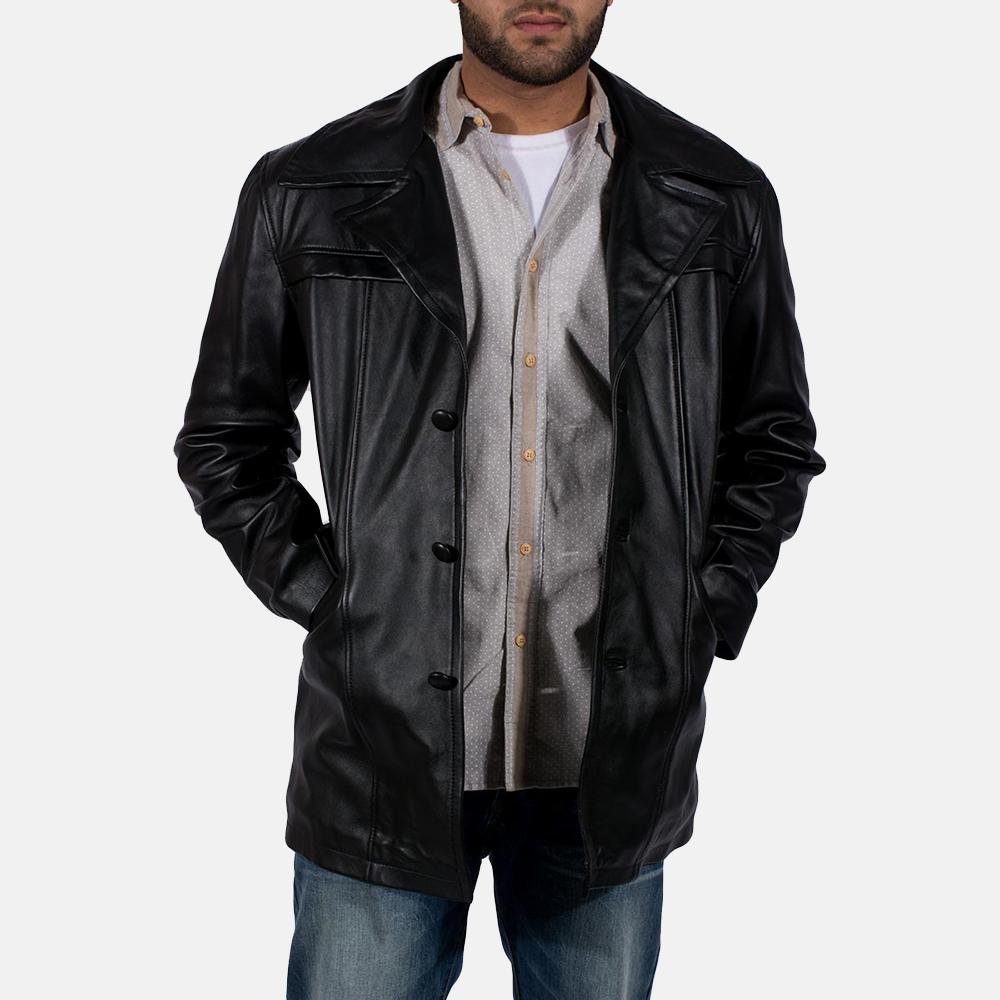Mens Brawnton Black Leather Coat 1