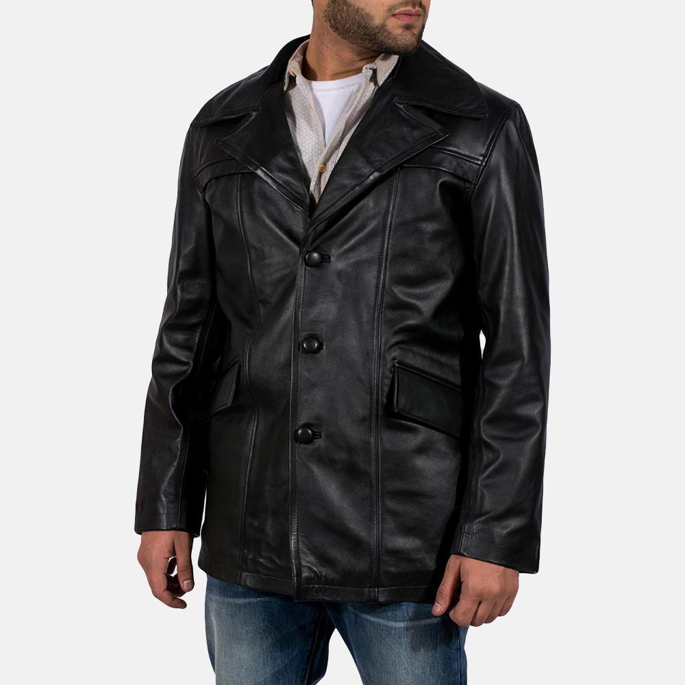Mens Brawnton Black Leather Coat 2