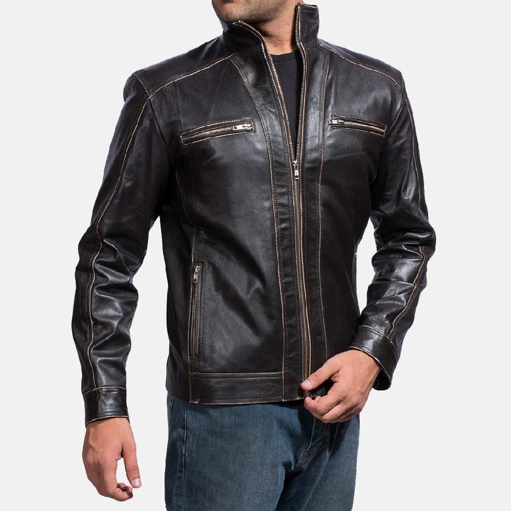 Mens Brownson Leather Biker Jacket 2