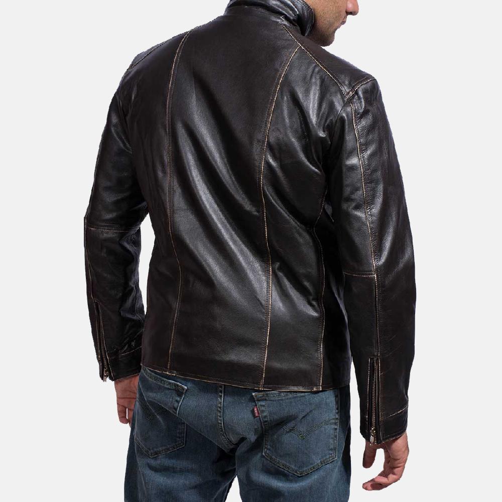 Mens Brownson Leather Biker Jacket 4
