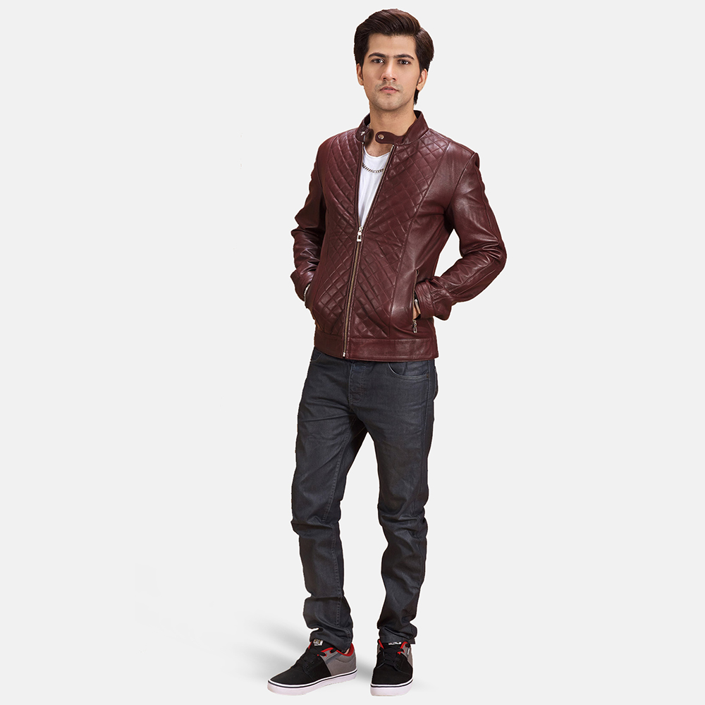 Mens Rumano Jae Studded Maroon Leather Biker Jacket 2