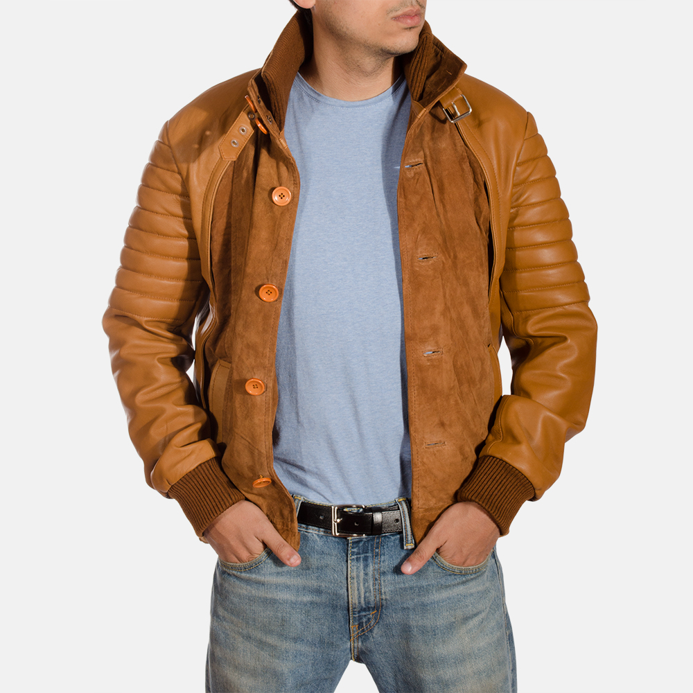 Mens Camelleo Brown Leather Jacket 2