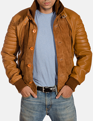 Mens Camelleo Brown Leather Jacket