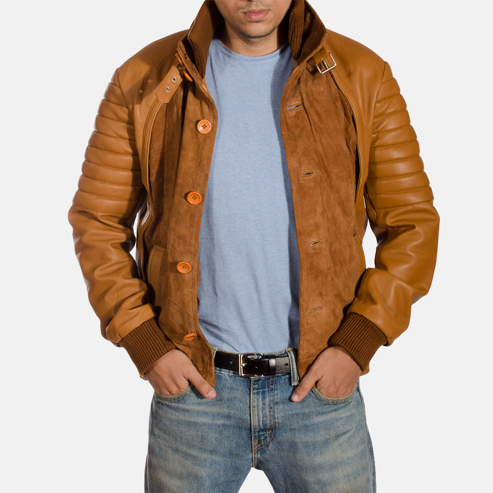 Mens Camelleo Brown Leather Jacket 1