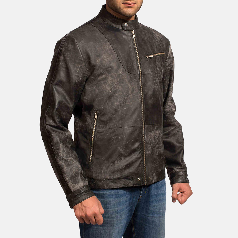 Mens Chalky Black Leather Jacket 2