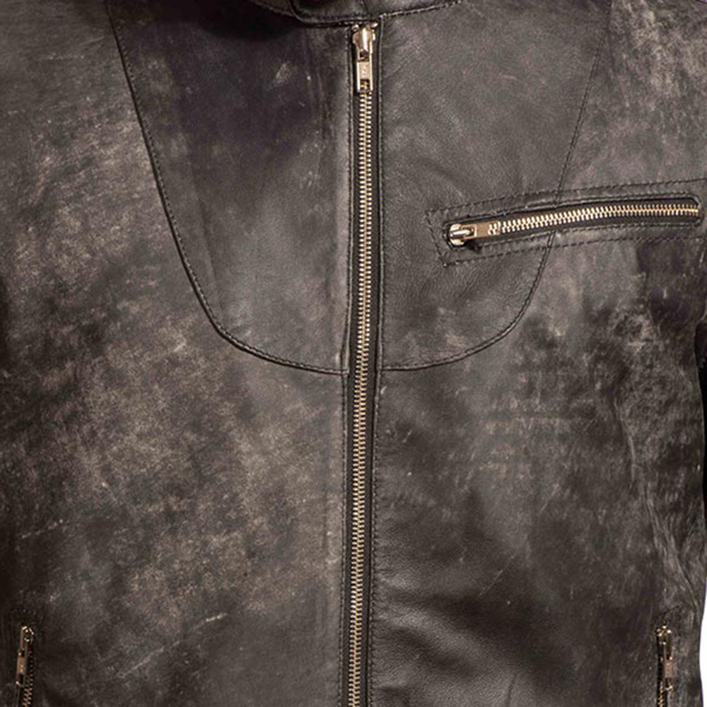 Mens Chalky Black Leather Jacket 4