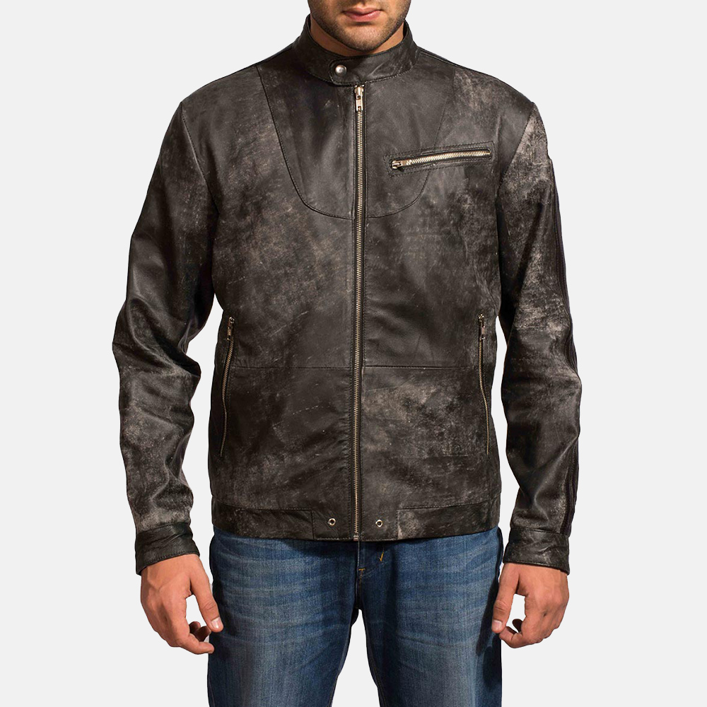 Mens Chalky Black Leather Jacket 1