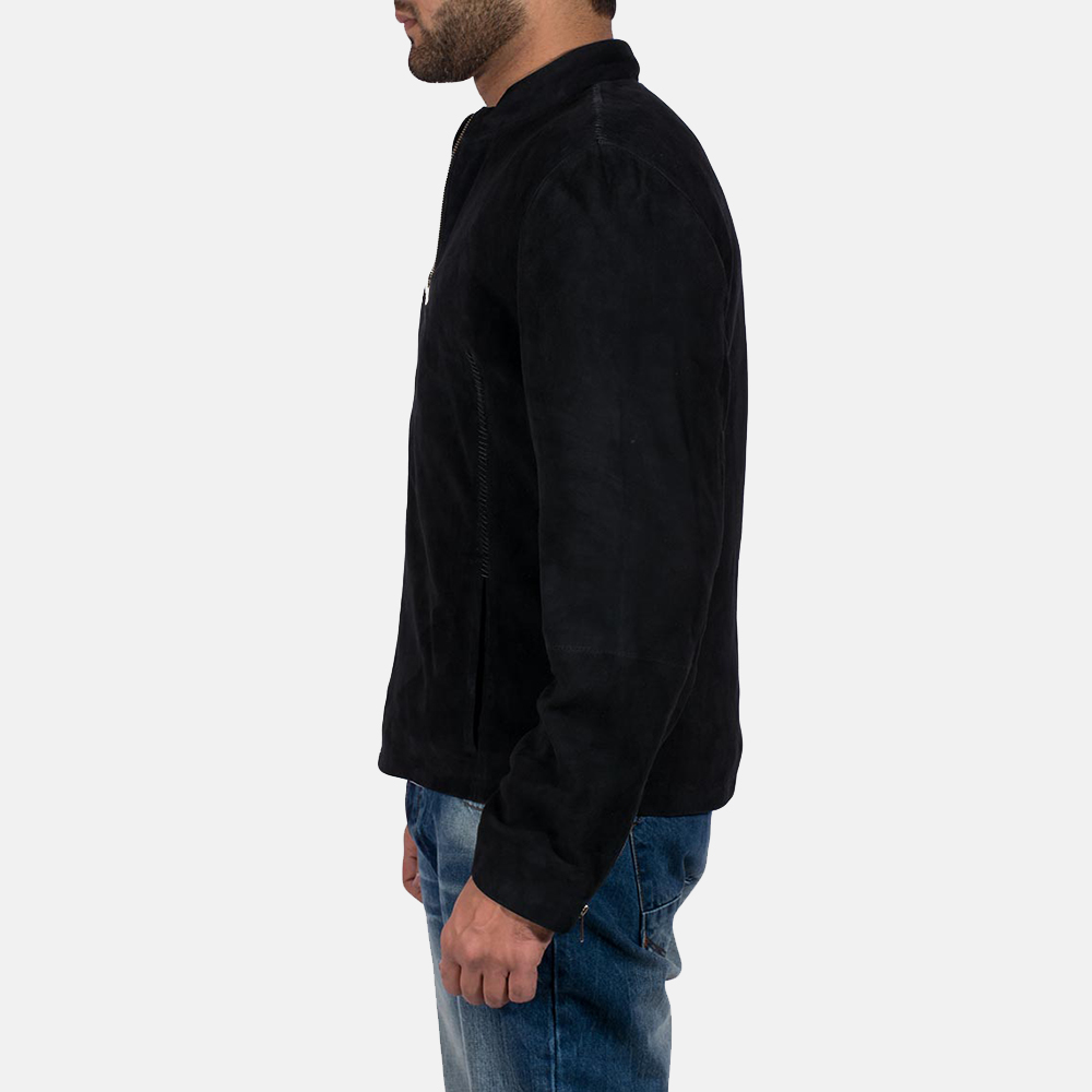 Mens Charcoal Black Suede Jacket 3