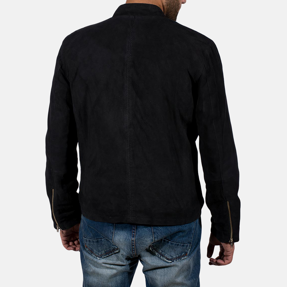 Mens Charcoal Black Suede Jacket 4