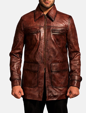 Mens Tuba Distressed Brown Leather Jacket
