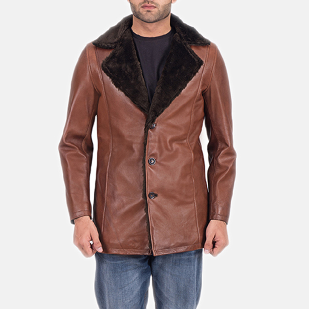 Mens Cinnamon Brown Leather Fur Coat 1