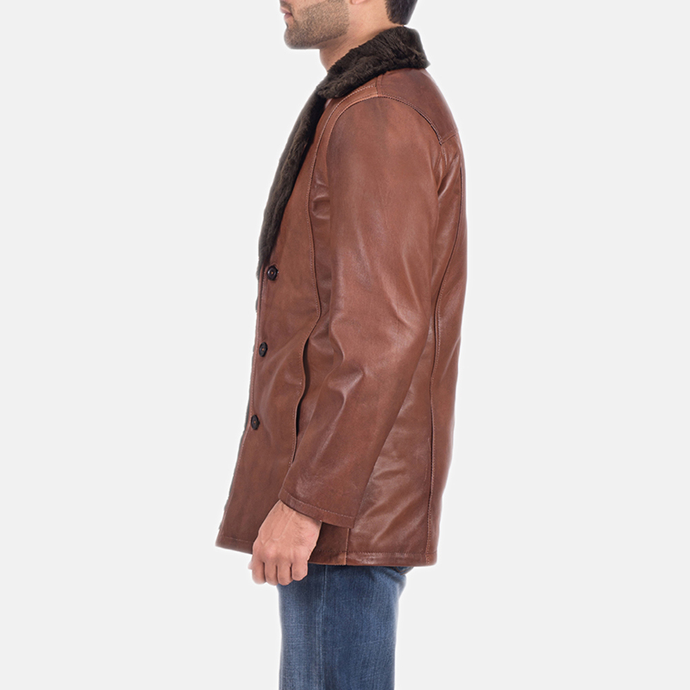 Mens Cinnamon Brown Leather Fur Coat 5