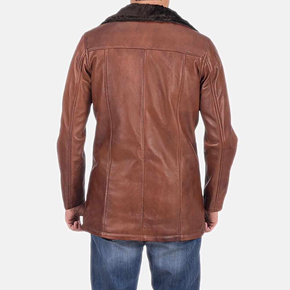 Mens Cinnamon Brown Leather Fur Coat 6