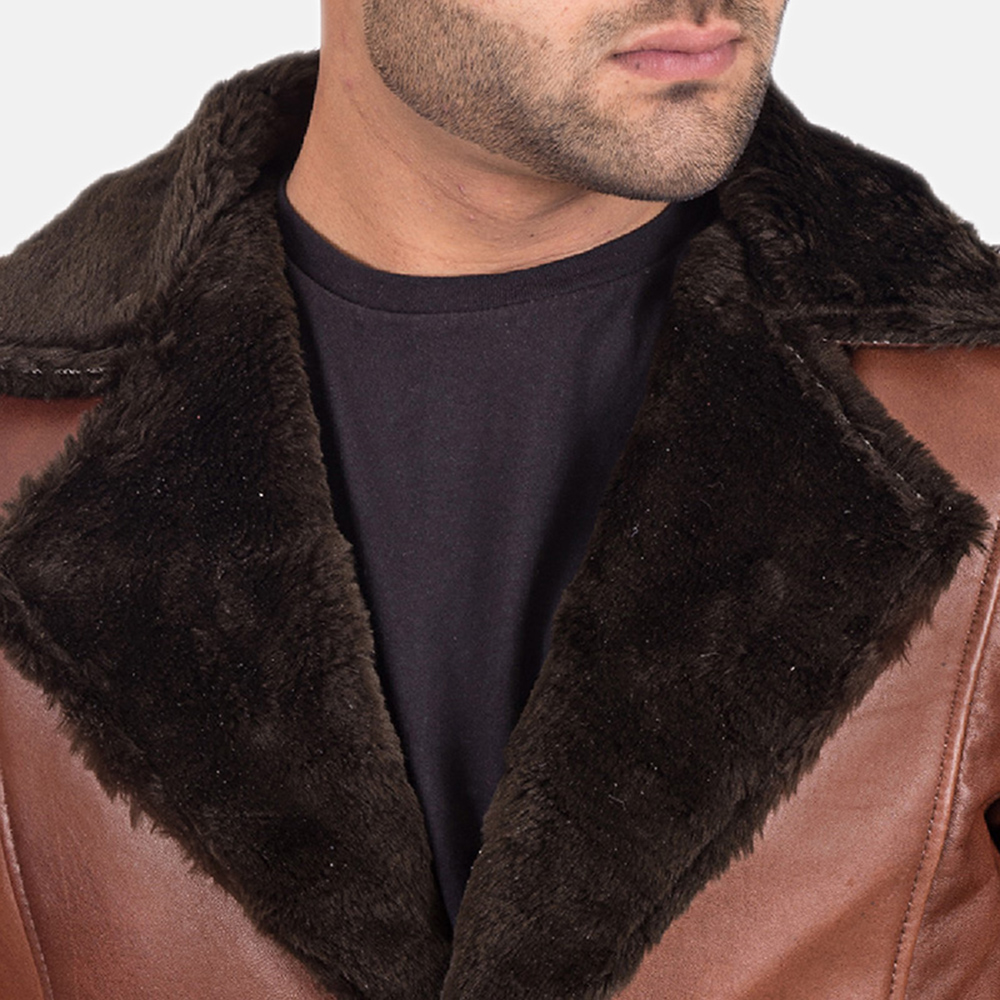 Mens Cinnamon Brown Leather Fur Coat 4