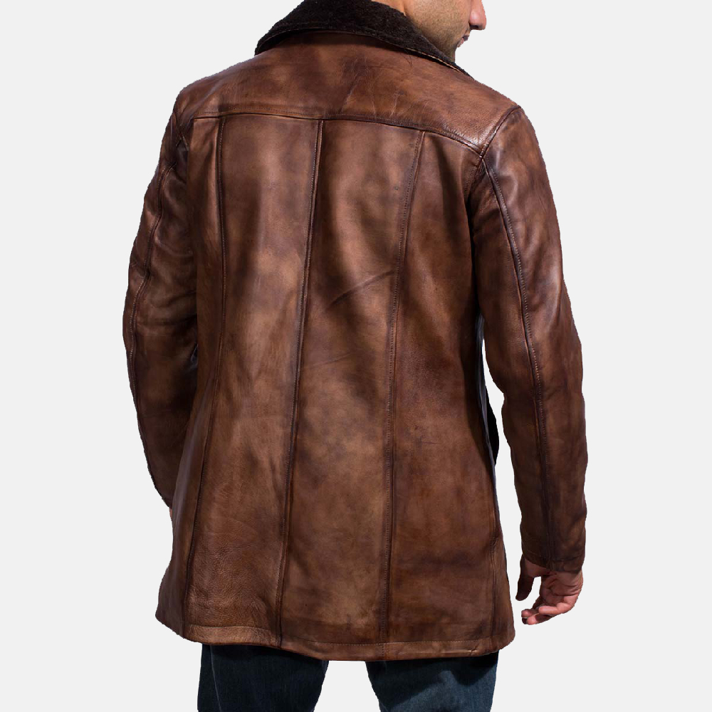 Mens Cinnamon Distressed Leather Fur Coat 5