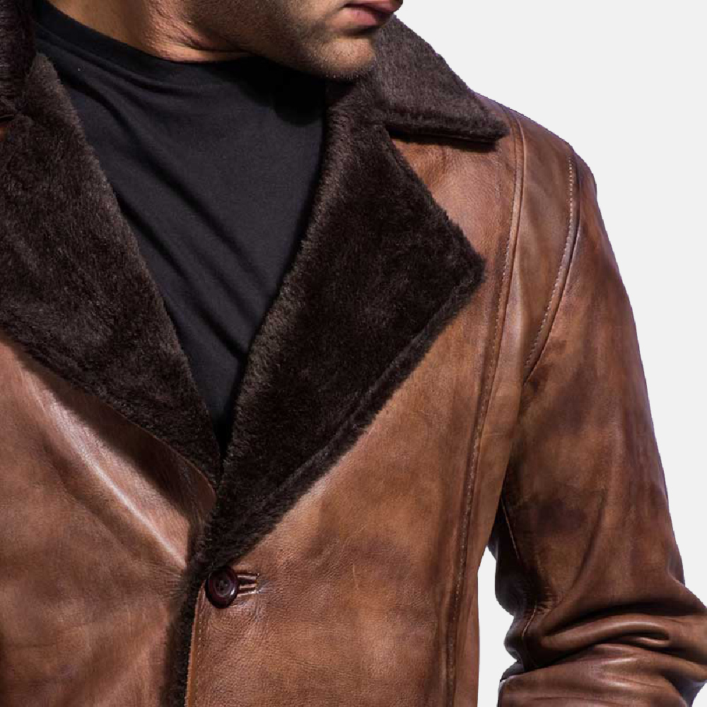 Mens Cinnamon Distressed Leather Fur Coat 6