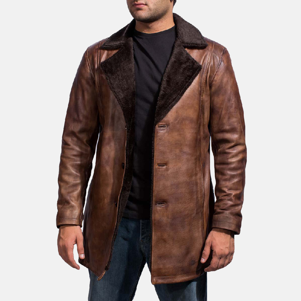 Mens Leather Jacket Sheepskin Collar