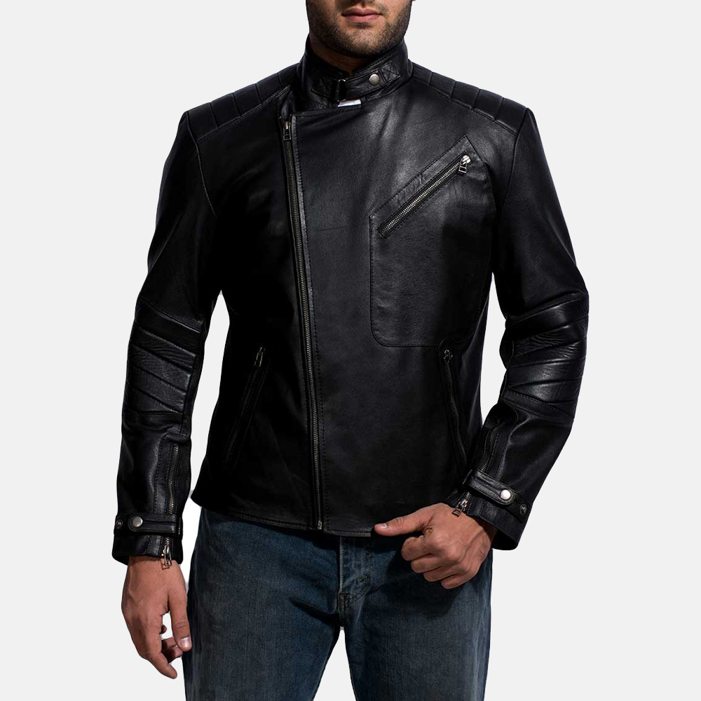 Mens Cirsova Black Leather Biker Jacket 2