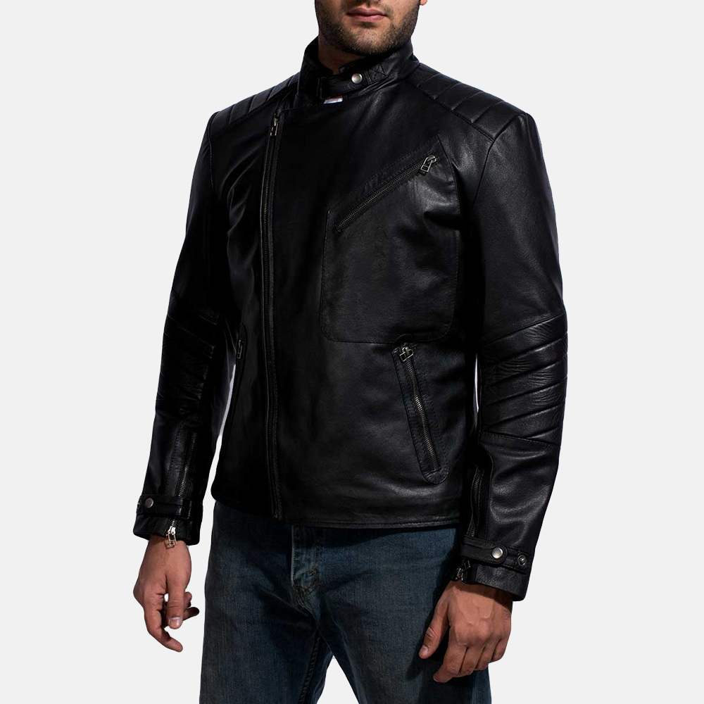 Mens Cirsova Black Leather Biker Jacket 3