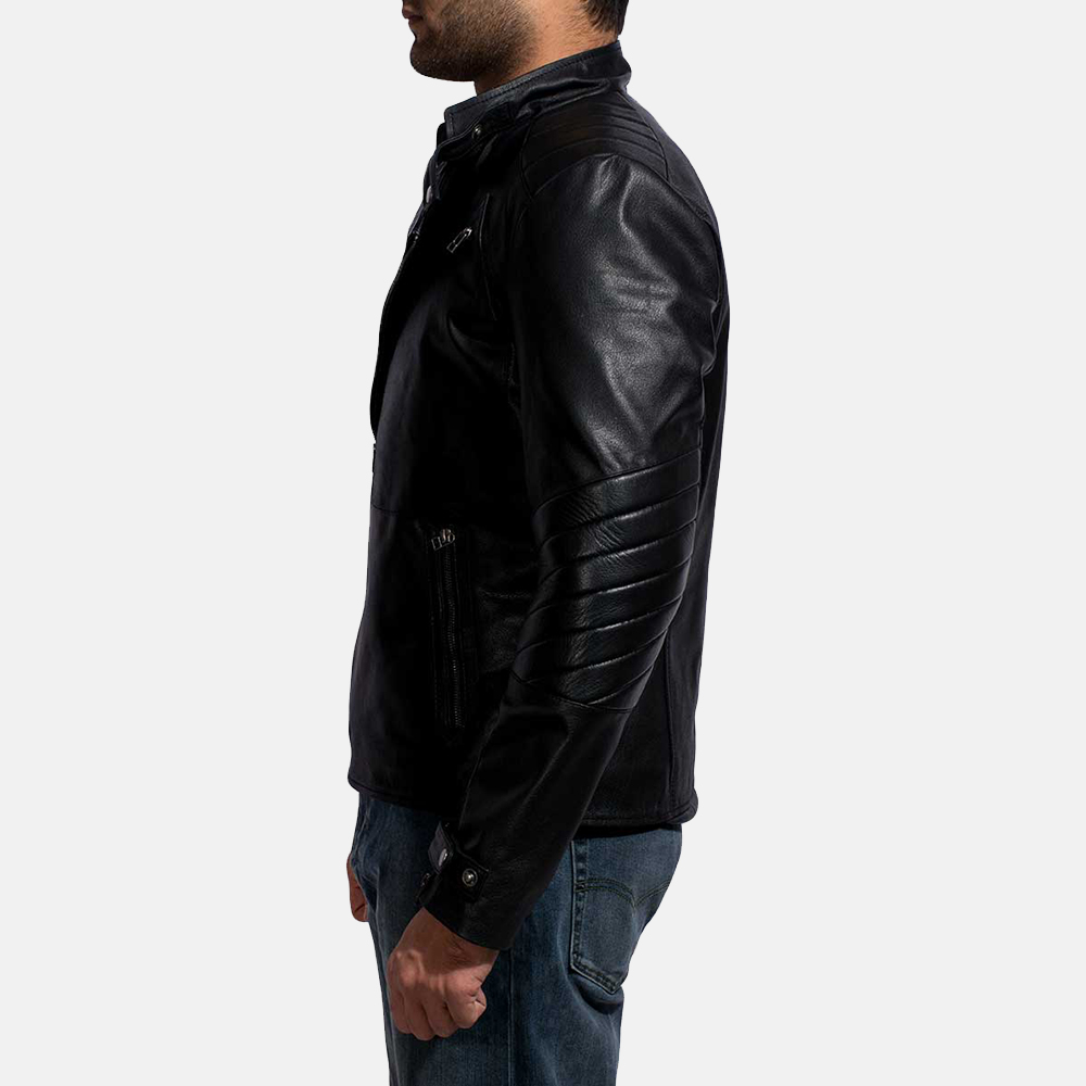 Mens Cirsova Black Leather Biker Jacket 5
