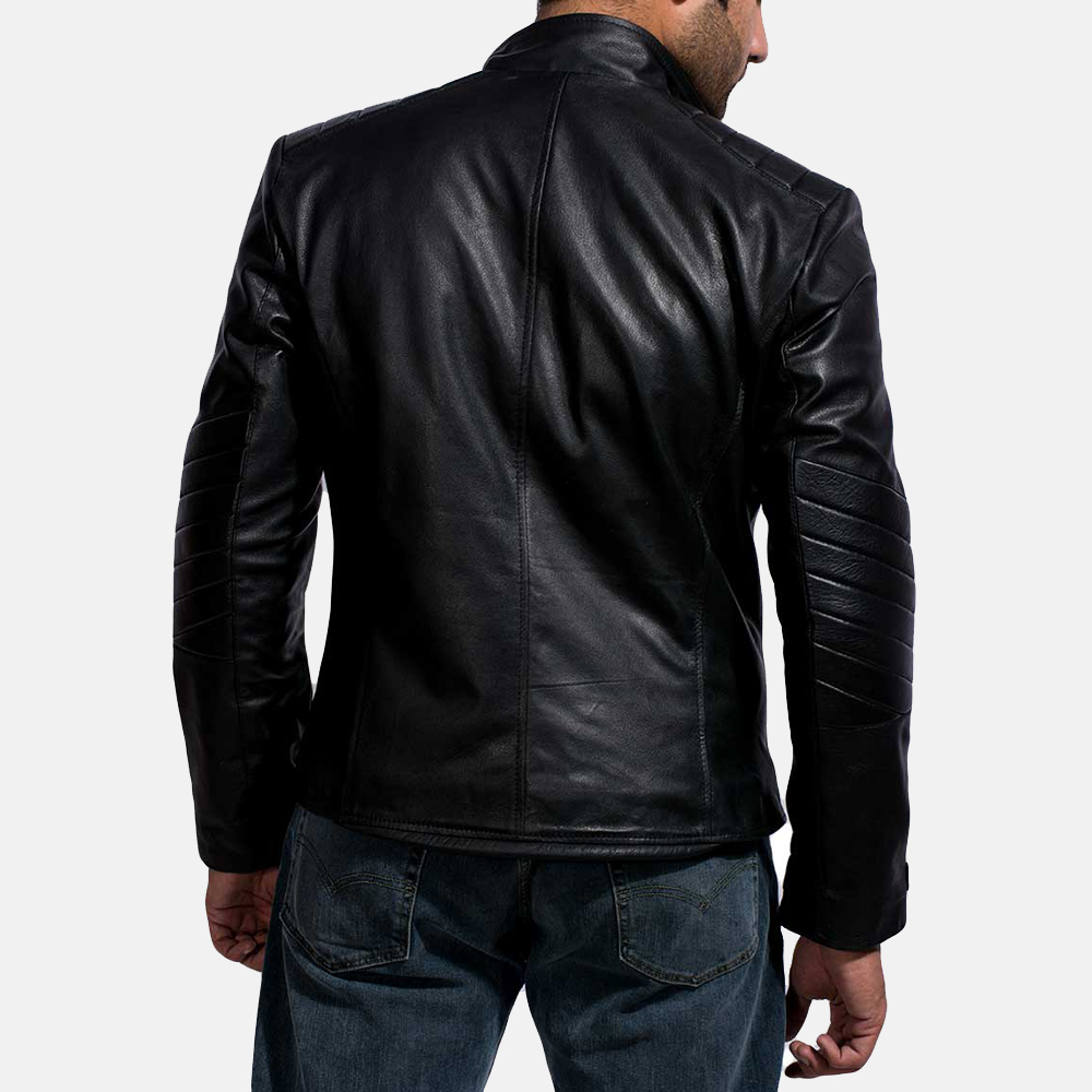 Mens Cirsova Black Leather Biker Jacket 6