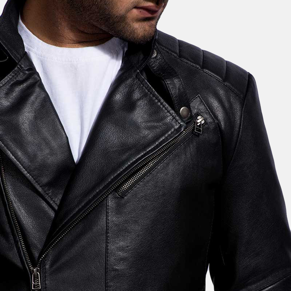 Mens Cirsova Black Leather Biker Jacket 4