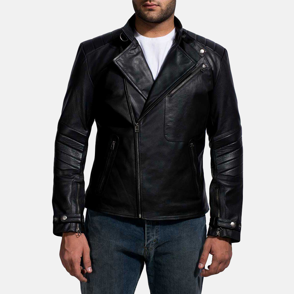 Mens Cirsova Black Leather Biker Jacket 1
