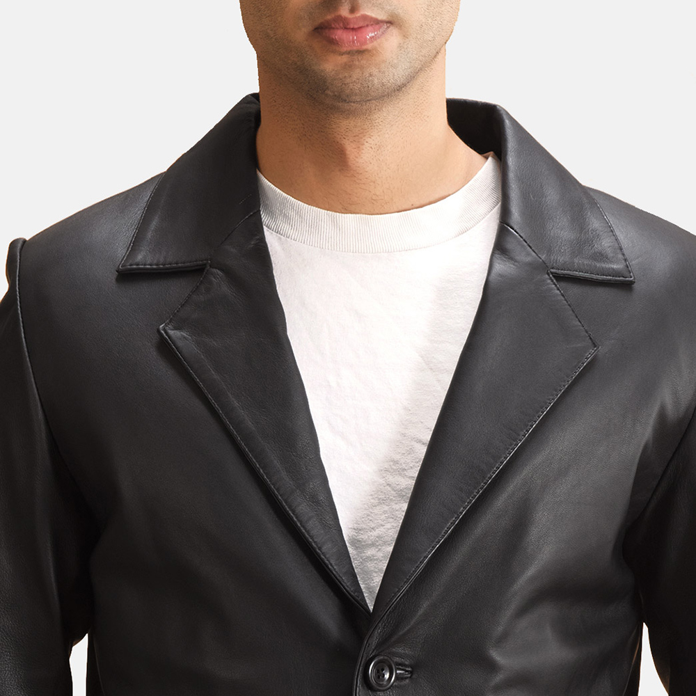 Mens Alyson Black Leather Blazer 5