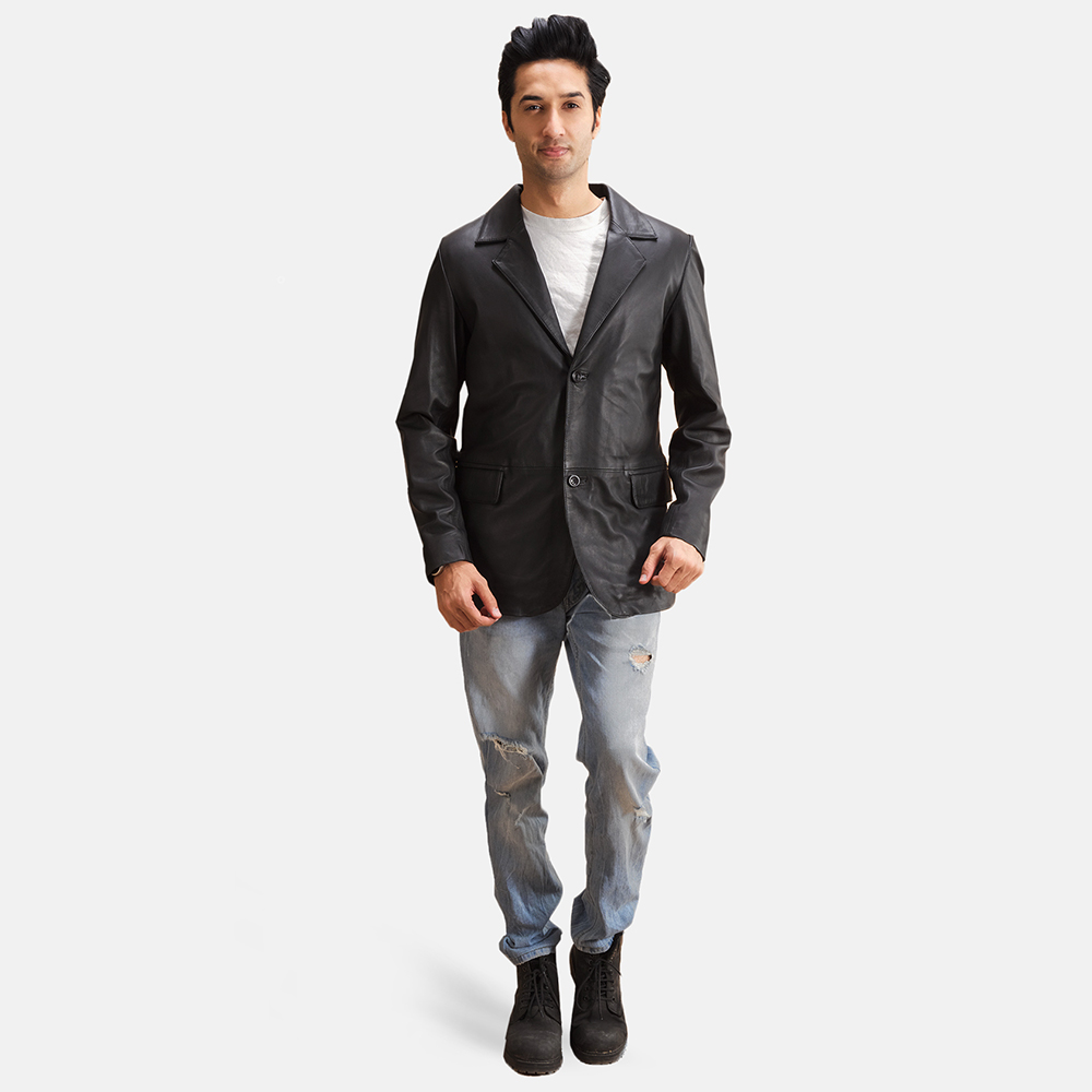 Mens Alyson Black Leather Blazer 1