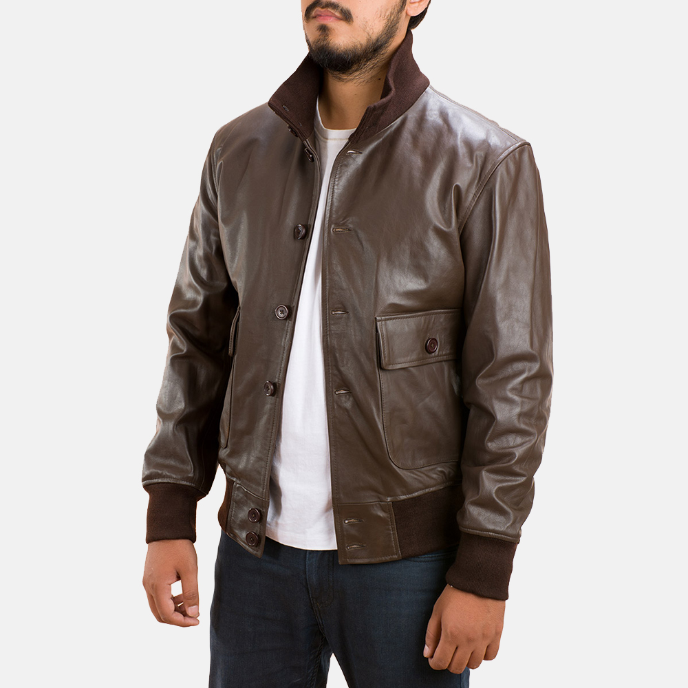 Mens Columbus Brown Leather Bomber Jacket 2