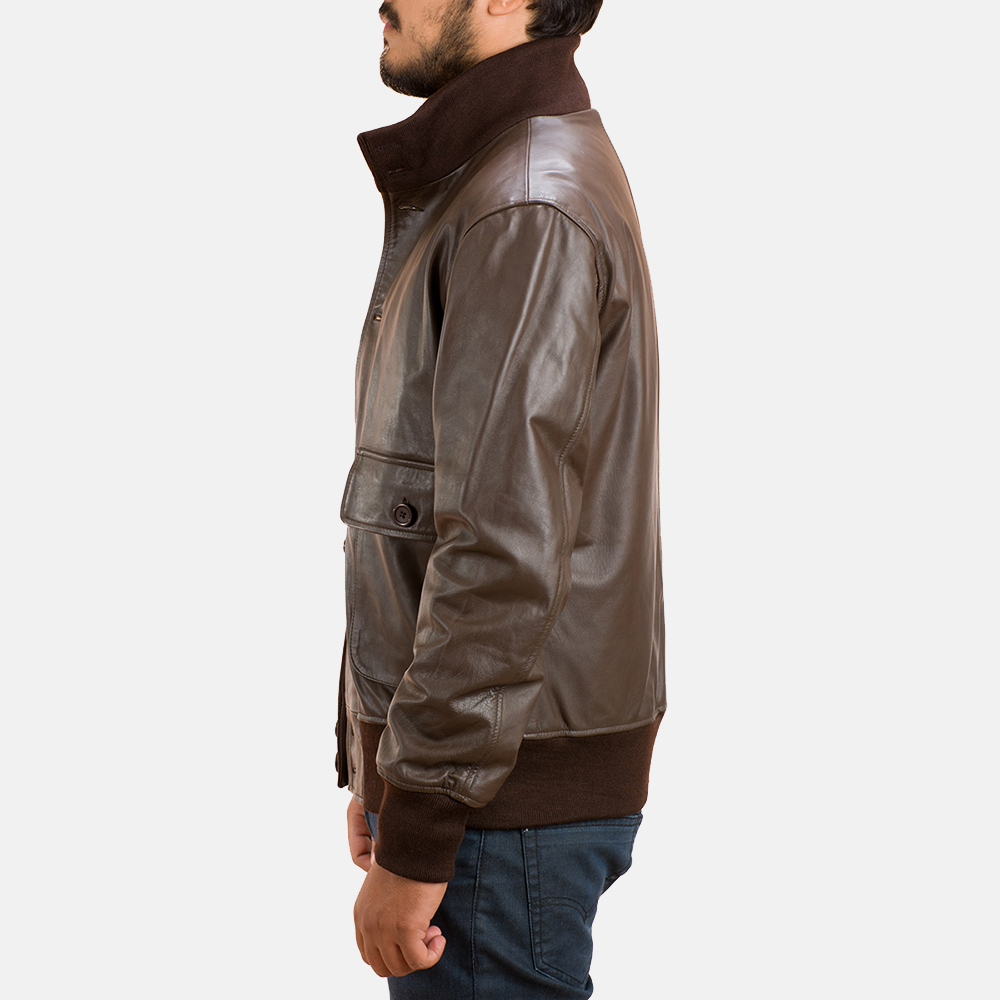 Mens Columbus Brown Leather Bomber Jacket 3
