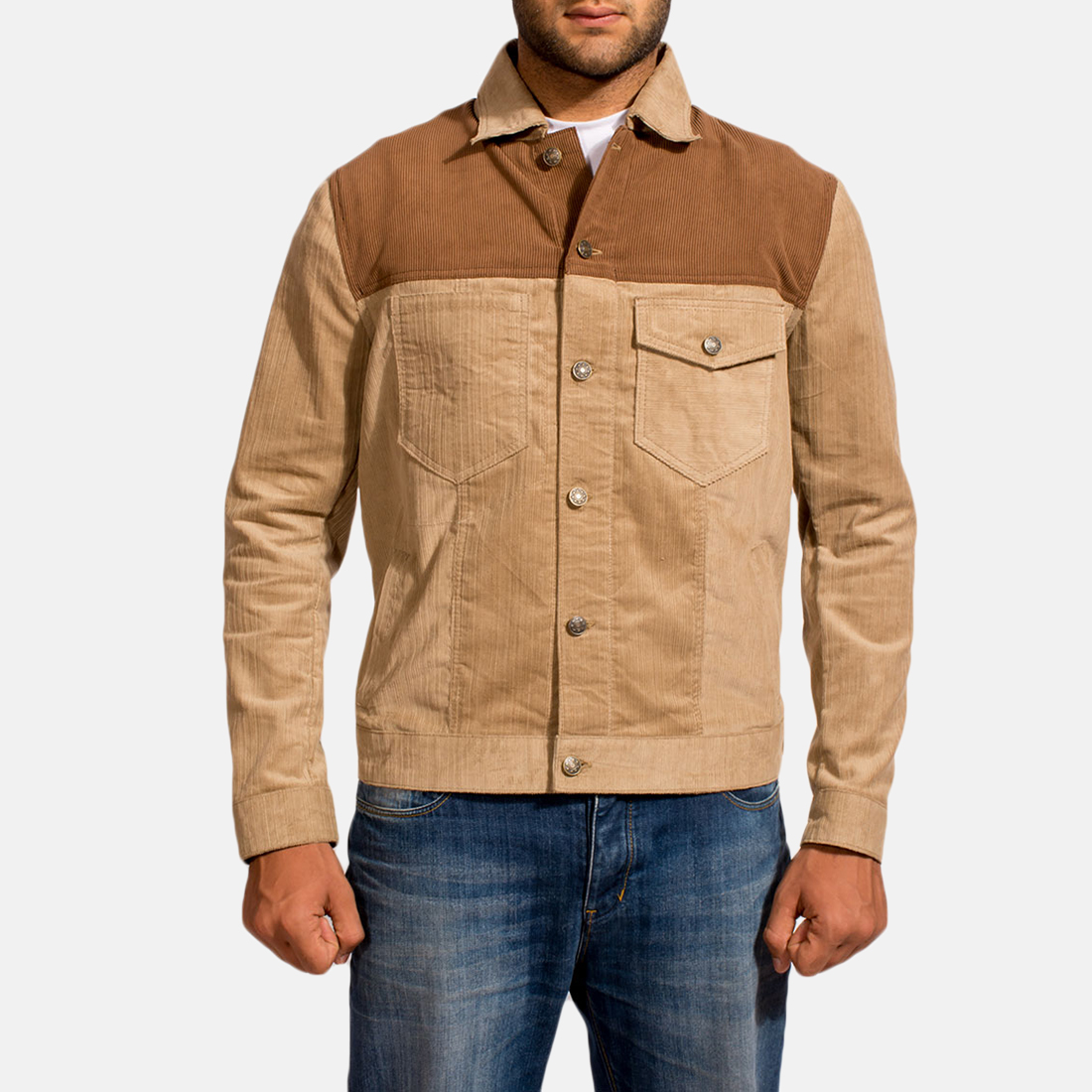 Mens Creme Chen Brown Jacket 1