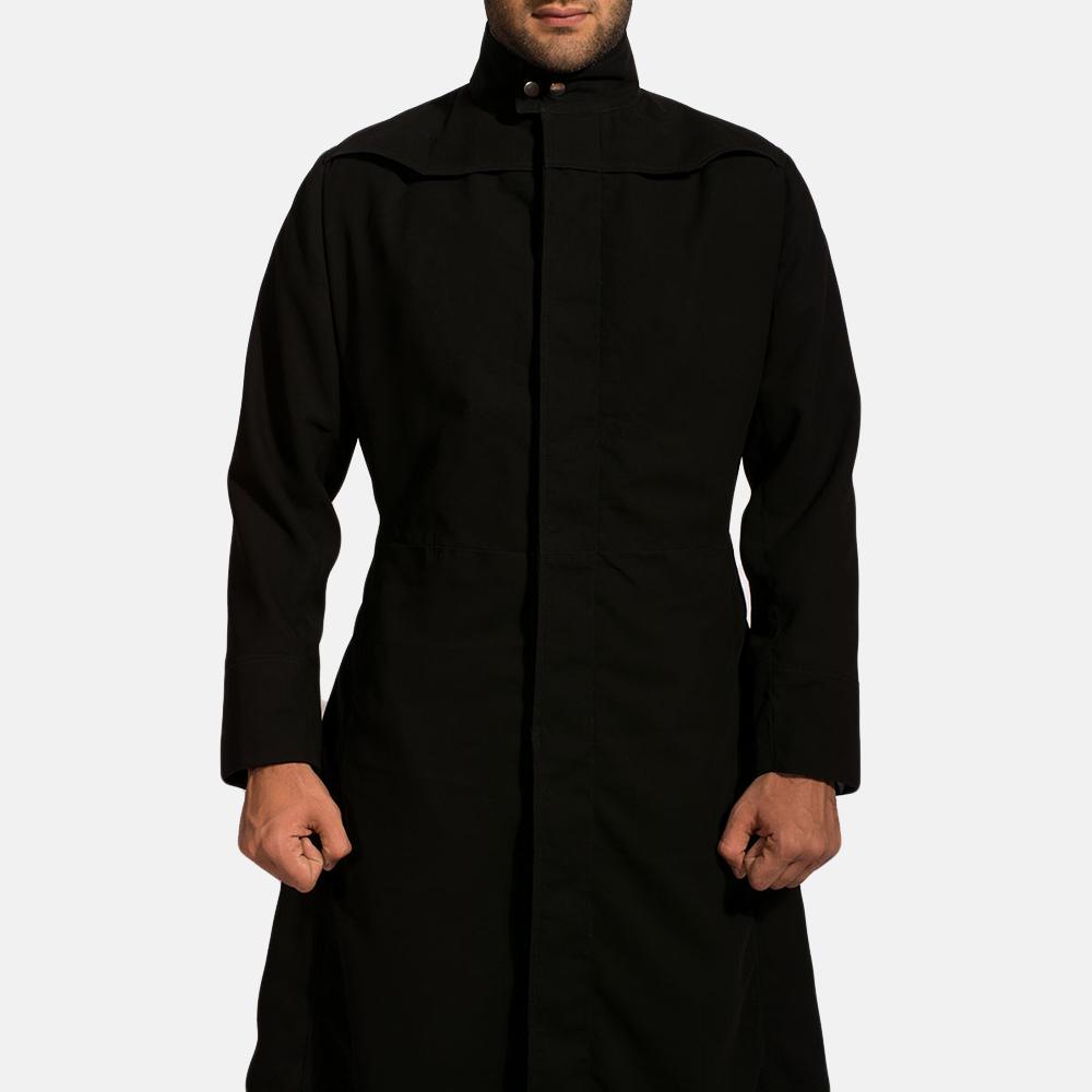 Mens Dane Shadow Black Long Coat 5