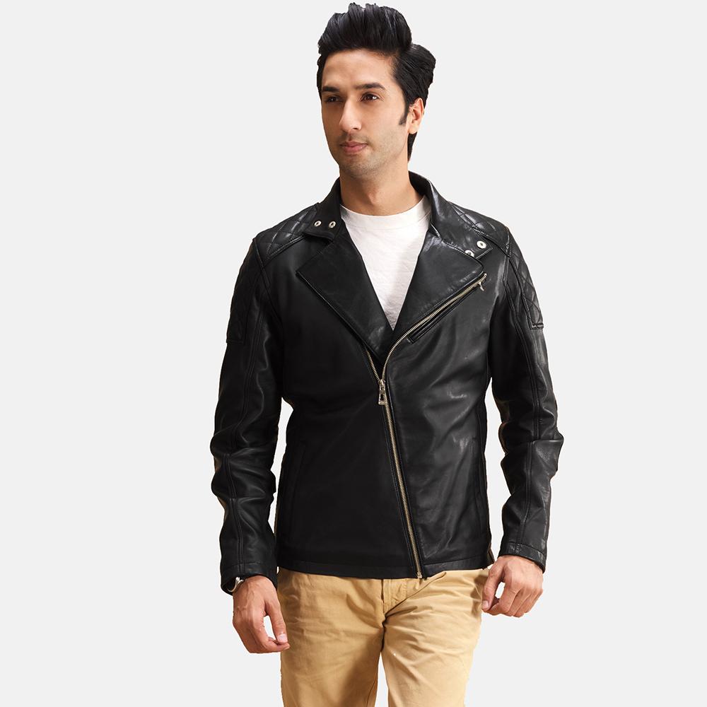 Mens Danny Jargo Quilted Black Leather Biker Jacket 1