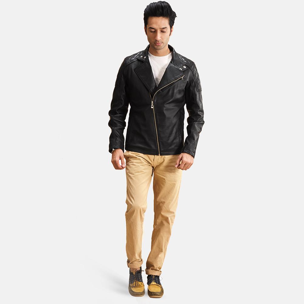 Mens Danny Jargo Quilted Black Leather Biker Jacket 2