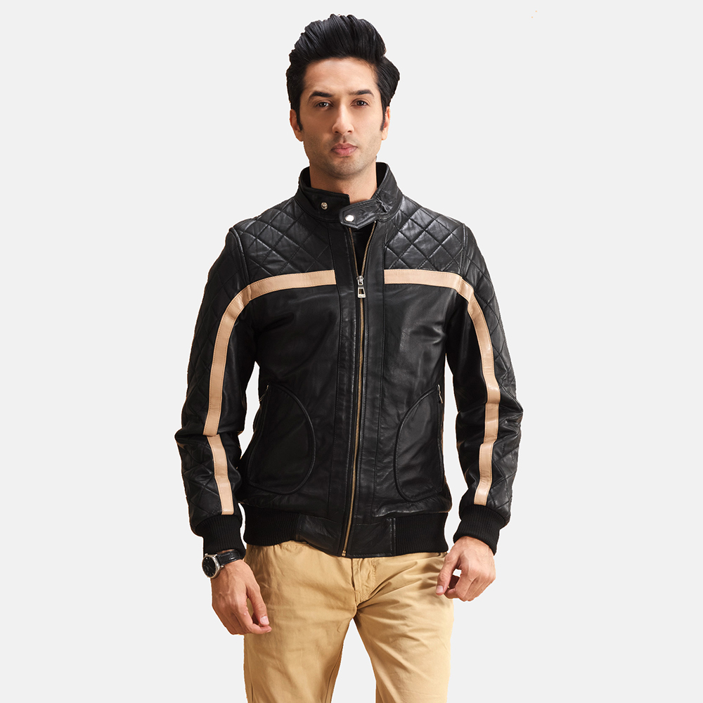Mens Danson  Black Leather Bomber Jacket 1