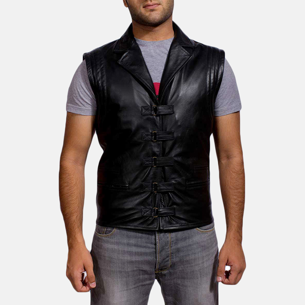 Mens Desperado Black Leather Coat & Vest 5
