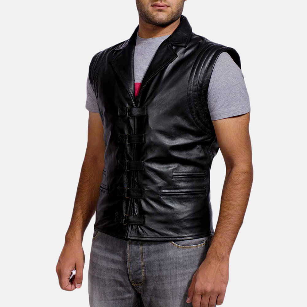 Mens Desperado Black Leather Coat & Vest 7