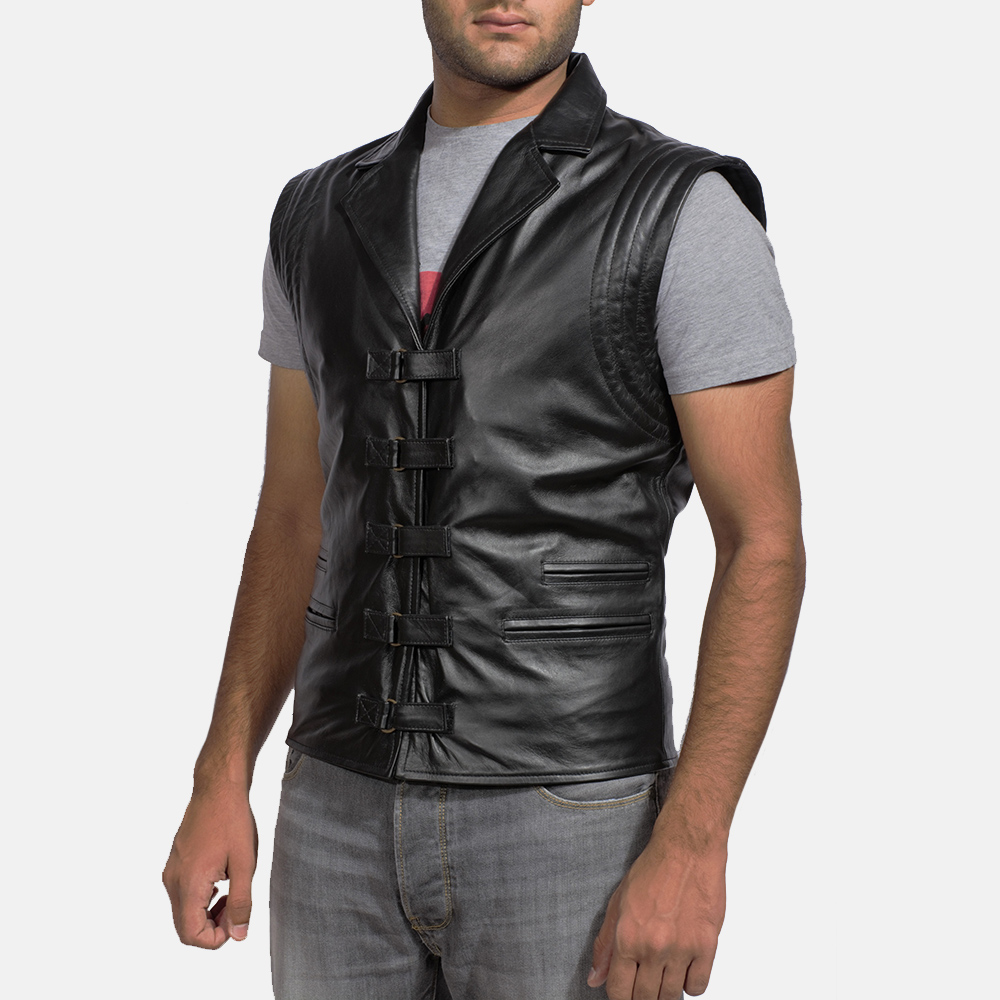Mens Desperado Black Leather Vest 2