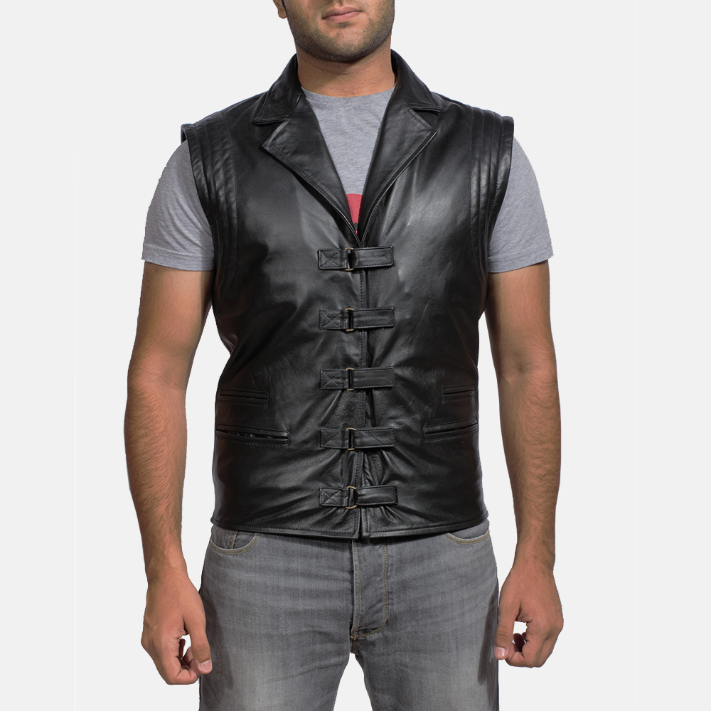 Mens Desperado Black Leather Vest 1