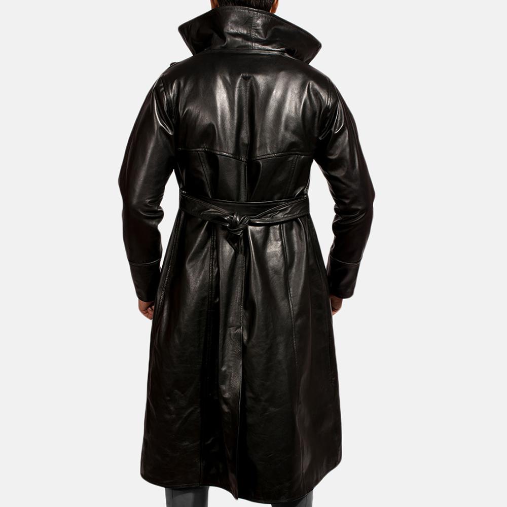 Mens Dracullum Black Leather Coat 2